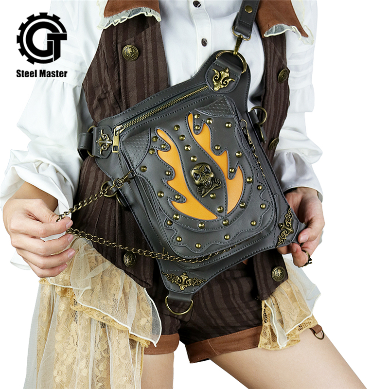 Steampunk Skull Retro Rock Bag Men Women Waist Fashion Gothic Shoulder Phone Case Holder Leather Motorcycle Messenger Bags