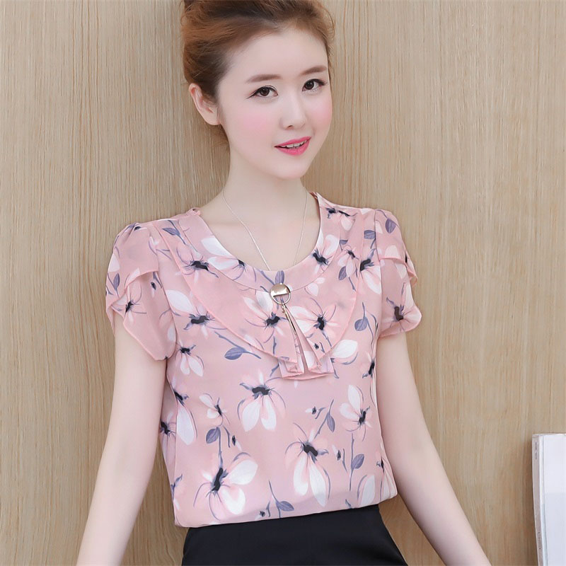 Women Spring Summer Style Chiffon   Blouses     Shirts   Lady Brand Casual Short Puff Sleeve Peter Pan Collar Blusas Top Feminina DF1634