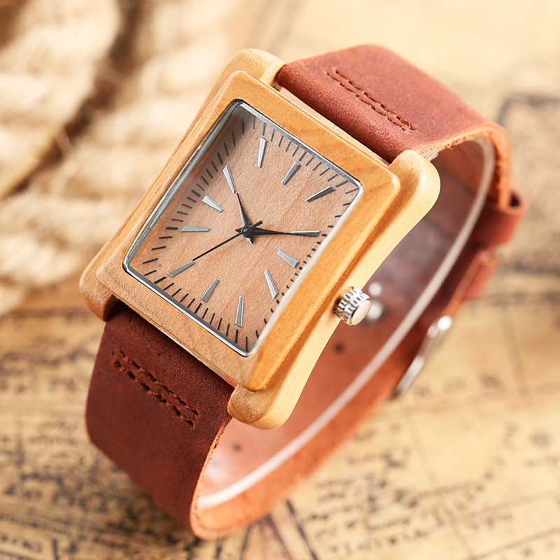 Rectangle Dial Wooden Watches for Men Natural Wood Bamboo Analog Display Genuine Leather Band Quartz Clocks Male Christmas Gifts 2020 2019 (36)