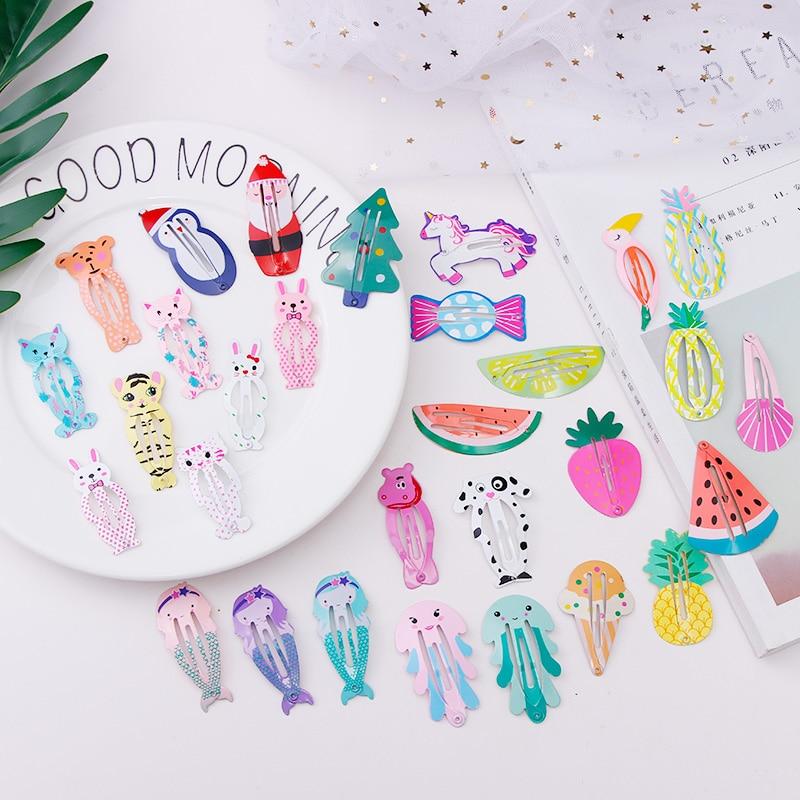 2PCS/Set Cute Girls Cartoon Fruits Firebird Mermaid Hairpins Children Sweet Hair Clips Headband Barrettes Kids Hair Accessories