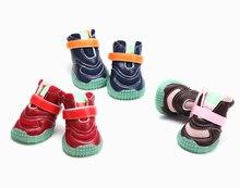 4Pcs / Set kiskutya Új divatos párnázás világít Nagy kutyák cipő csizmák Sport Kutya tenisz