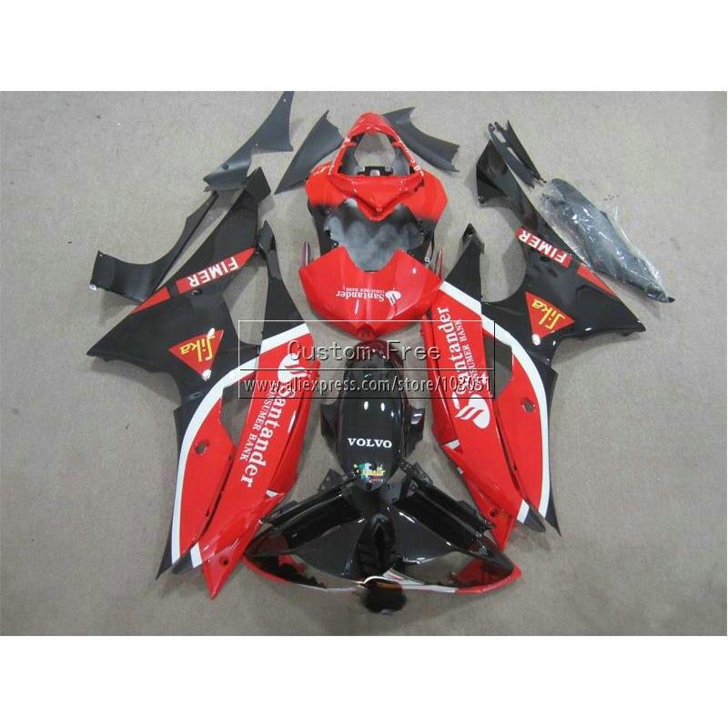 Прессформа впрыски настроить обтекатель комплект для Ямаха YZF R6 в YZFR6 2008 2009-2014 08-14 черный красный Сантандер обтекатели комплект JL22