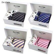 HOT SALE! Premium Woven Jacquard Necktie Cufflinks Hanky Tie Clip Gift Set Luxury Present with Giftbox and Handbag
