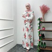 883da41b5a6b8 Kadınlar için müslüman uzun elbise Türkiye Dubai Ramazan Elbise Kaftan Türk  Bangladeş İslam Giyim Çiçekler Vestidos