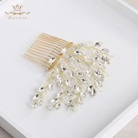 Bavoen Wedding Handmade Crystal Shinny Hair Combs Gold Bridal Headpiece Brides Hair Accessories
