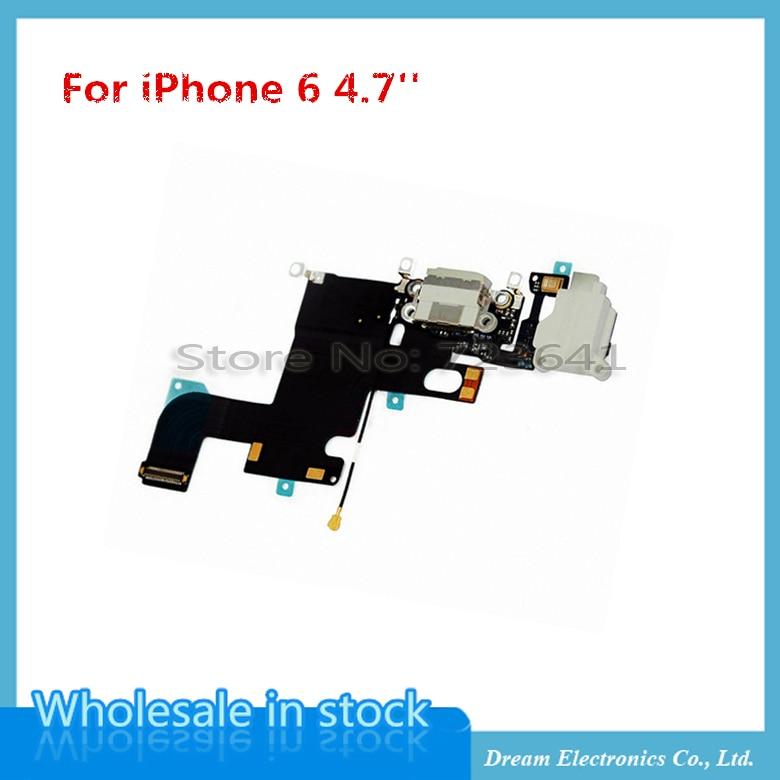 """imágenes para 20 unids/lote Cargador de Puerto de Carga USB Conector Dock Cable Flexible Para el iphone 6 4.7 """"6G con Micrófono de Auriculares Jack Flex Ribbon Cable"""
