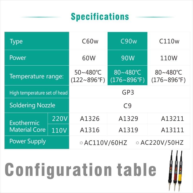 CXG C60W / C90W / C110W Pájecí žehlička LCD Nastavitelná teplota - Svářecí technika - Fotografie 2