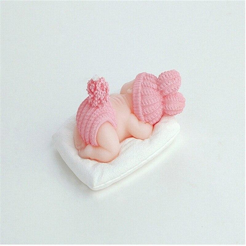 1 stuks Slaap Baby Kaars Cake Topper Blauw/roze Kaars Baby Shower Decoraties Baby Honderd Dagen DIY Verjaardagsfeestje kids-C 4