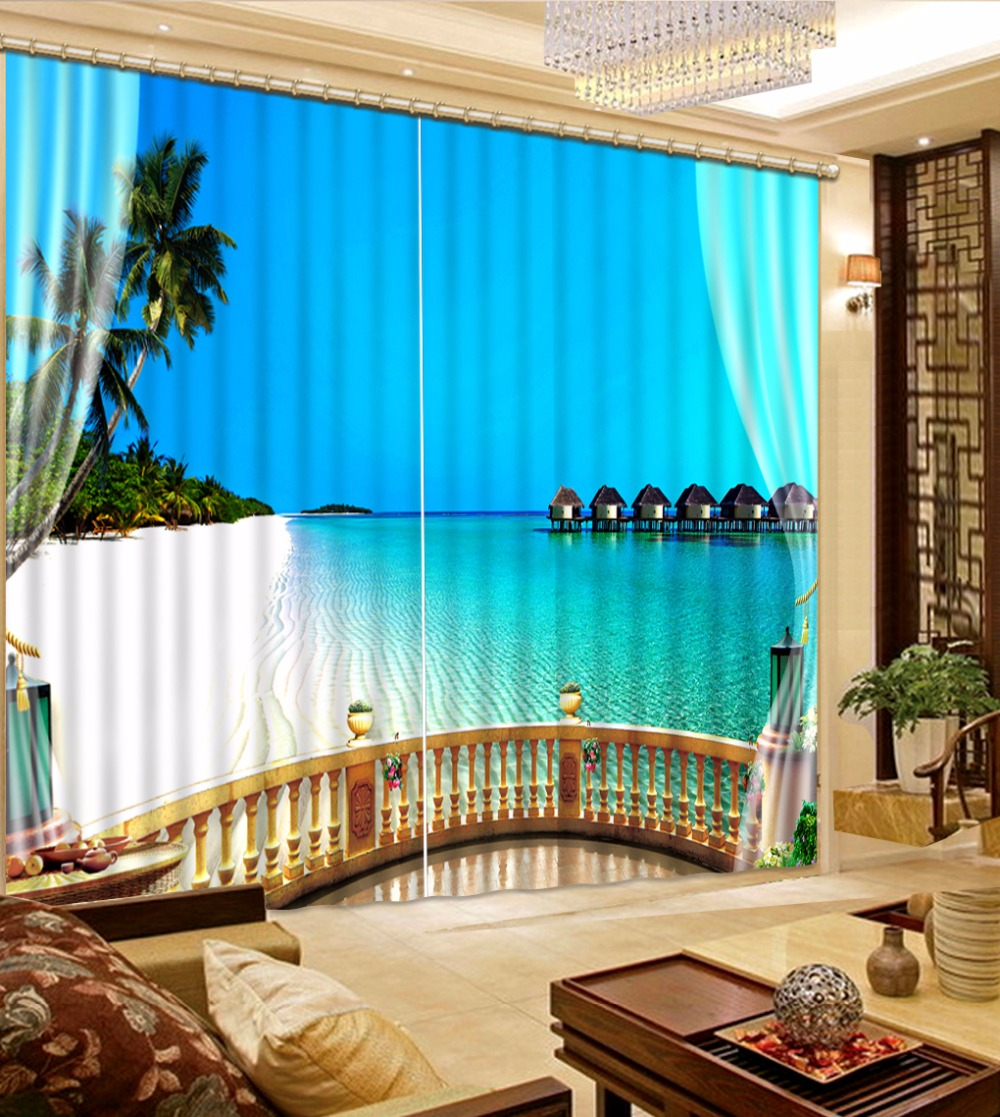 Modern 3D Curtains For Room Home Decoration Curtain Kitchen Blue sea ...