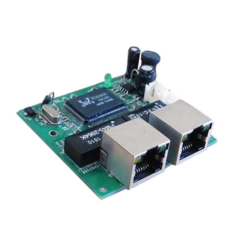 mini fast 10 100mbps 2 port ethernet network lan hub switch board two layer pcb 2