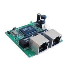 Мини быстрый 10/100 мбит 2 порта ethernet сетевой концентратор коммутатор двух слоев pcb 2 rj45 1 * 8pin голова порт