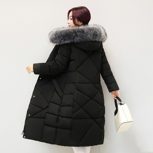 New Coats & Jackets 2016 Parka Hooded Winter Jacket Winter Coat Women Zipper Women's Jacket Women Faux Fur Collar kp1394