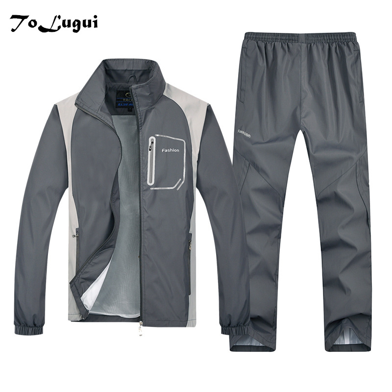 ToLugui Tracksuit Mens Track Suit Set Fashion 2 Pieces Casual Sweatshirts Pants Sportswear Male Windproof Jogging Clothing