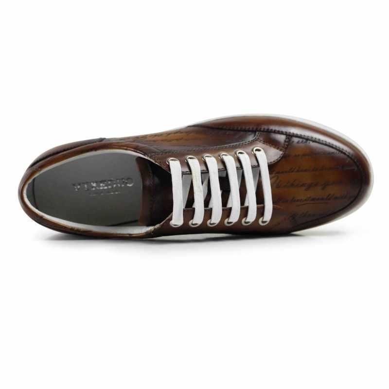 Vikeduo 2019 hot Handgemaakte Vintage Mode Luxe Merk Mannelijke Schoen Echt Leer Mannen Casual Skateboard Schoenen Bruin Mans Schoeisel