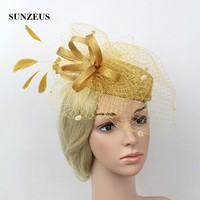 Bridal Hats with Face Veil Feather Elegant Women's Party Hats Hair Accessories Vintage chapeau mariage SH11