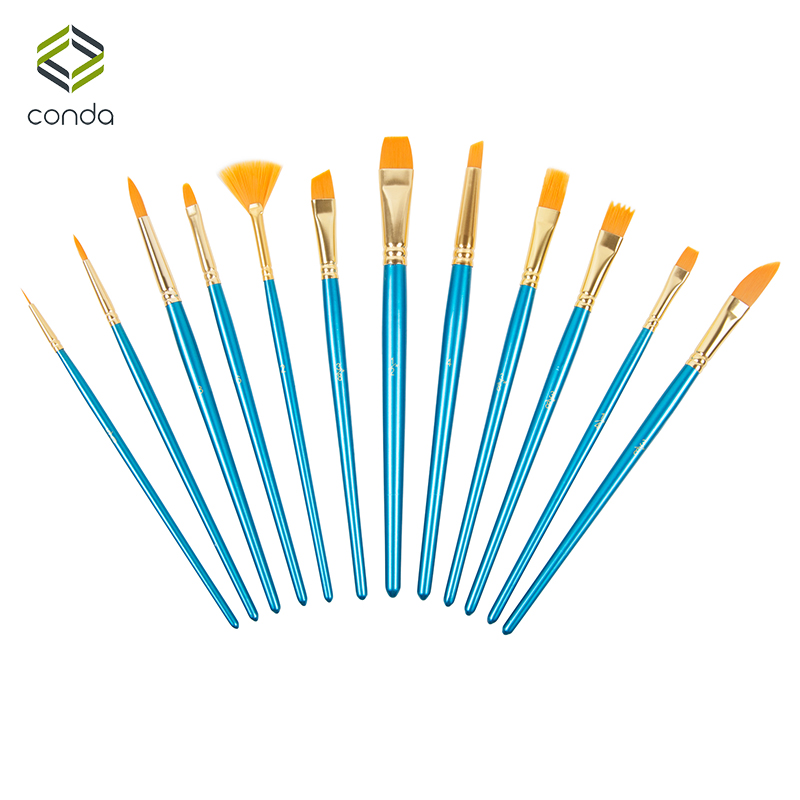 12pcs Nylon Hair Paint Brush Set Artist Supplies CONDA Watercolor Acrylic Oil Painting Pen Blue Wood Round Pointed Tip Artistic фонарик cree xml t6 18650 super light