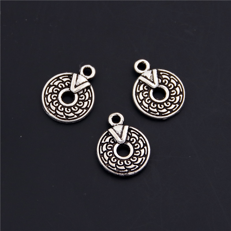 20pcs Antique Silver Metal Round With Figure Charms Pendant Fit Necklace Earrings Jewelry Diy Making Accessories A2427