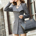 SYB 2016 NEW Women Woolen Winter Warm Zipper Trench Long Coat Jacket Parka Outwear Gray