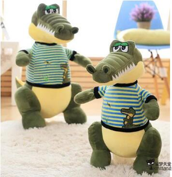 68cm Cartoon Crocodile Plush Pillow Staffed Animal Crocodile Doll with Clothes Toy birthday gift