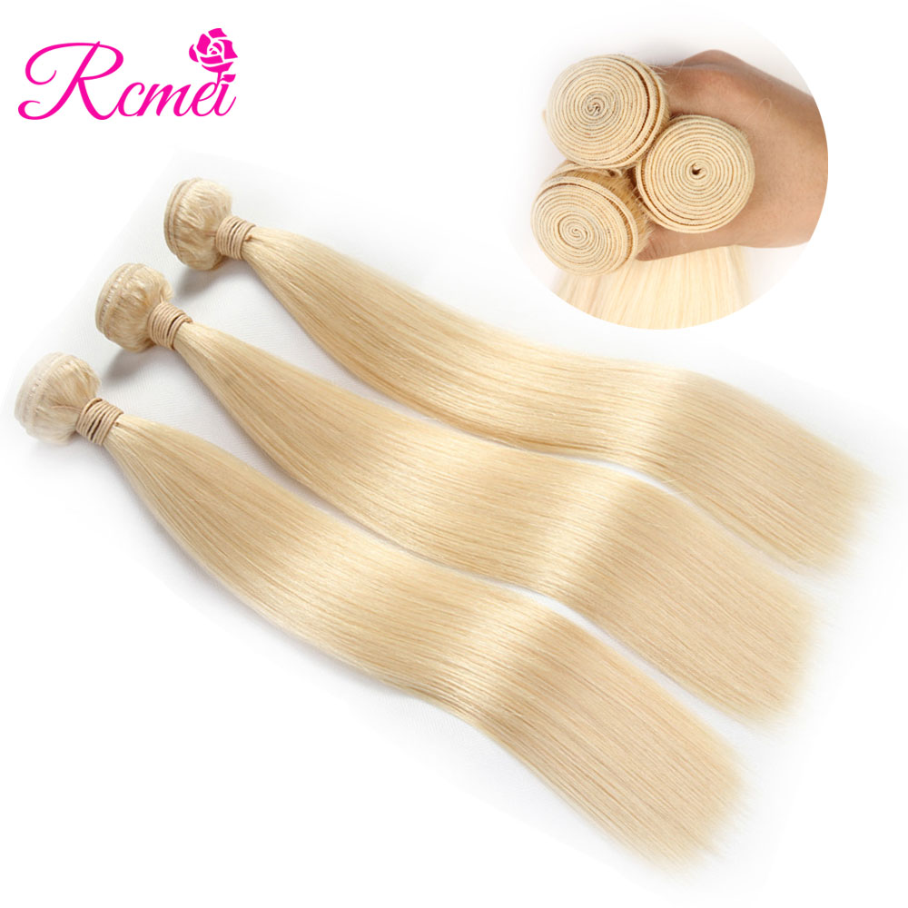Rcmei 613 Blonde Hair Weaving Brazilian Straigth Hair 3 Bundle Deal Pre-Colored Hair Wea ...