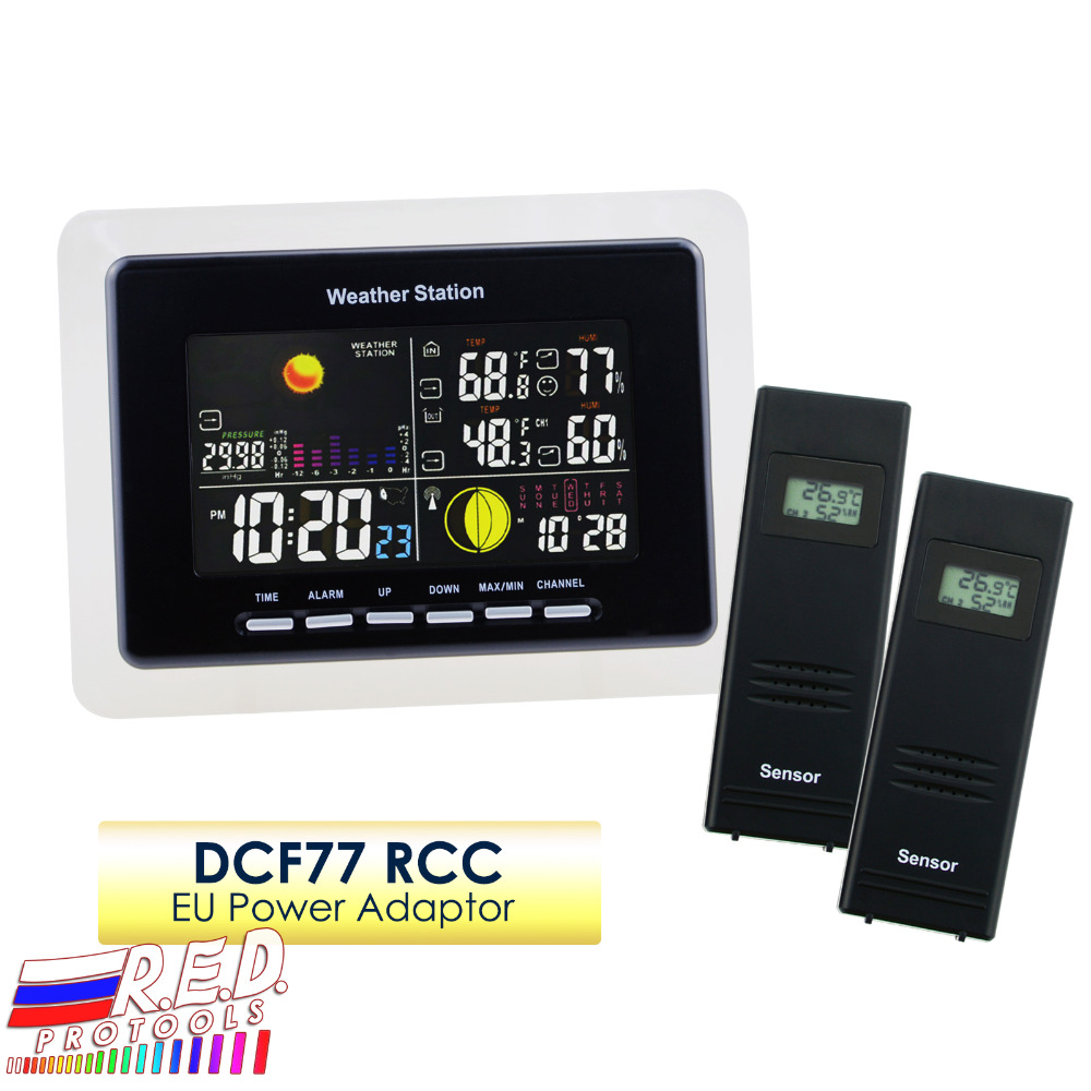 Wireless Weather Station 2 Remote Sensors Weather Forecast Moonphase Alarm Indoor Outdoor Temperature Humidity DCF RCC бинокль nikon 8x25 sportstar ex dcf wp silver