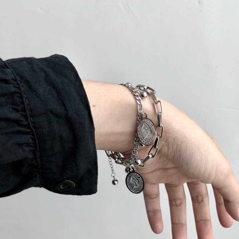 Bransoleta ze stali nierdzewnej/para/kobiety/punk/bileklik/bransoletka ze stali nierdzewnej pulsera hombre dla kobiet męskie bransoletki 2019