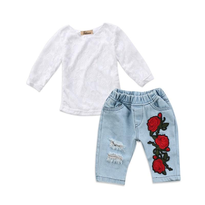 0-4Y Infant Kids Baby Girls Toddler Princess Clothes 3D Flower Lace Crochet Tops Blouse Denim Jeans Long Hot Pants 2Pcs Clothes 2016 baby toddler beanie hat flower hand crochet knit cap kids girls winter 8nkg