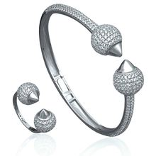Newness Luxury Disco Ball African Bangle Ring SetCluster Cubic Zirconia Women Brand Bijoux Wide Sets Party