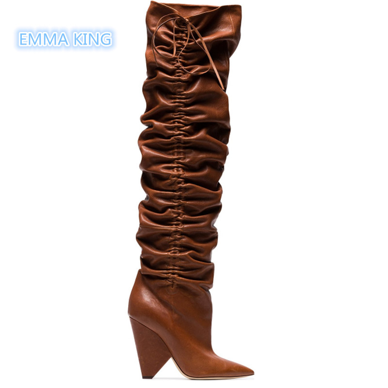 Winter High Heels Women Boots Pointed Toe Shaped Heels Botas Mujer Over The Knee Thigh High Boots Pleated Lace Up Ladies Shoes