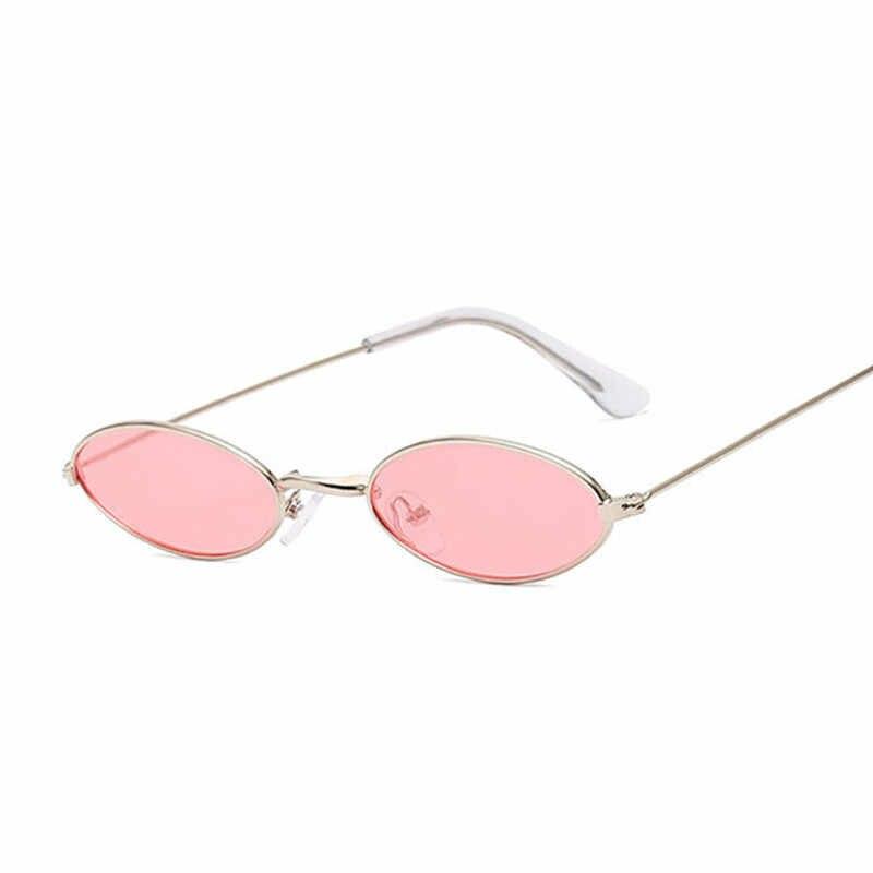 Retro małe owalne okulary przeciwsłoneczne damskie Vintage odcienie marki czarny czerwony kolor metalu okulary przeciwsłoneczne dla kobiet projektant mody luneta