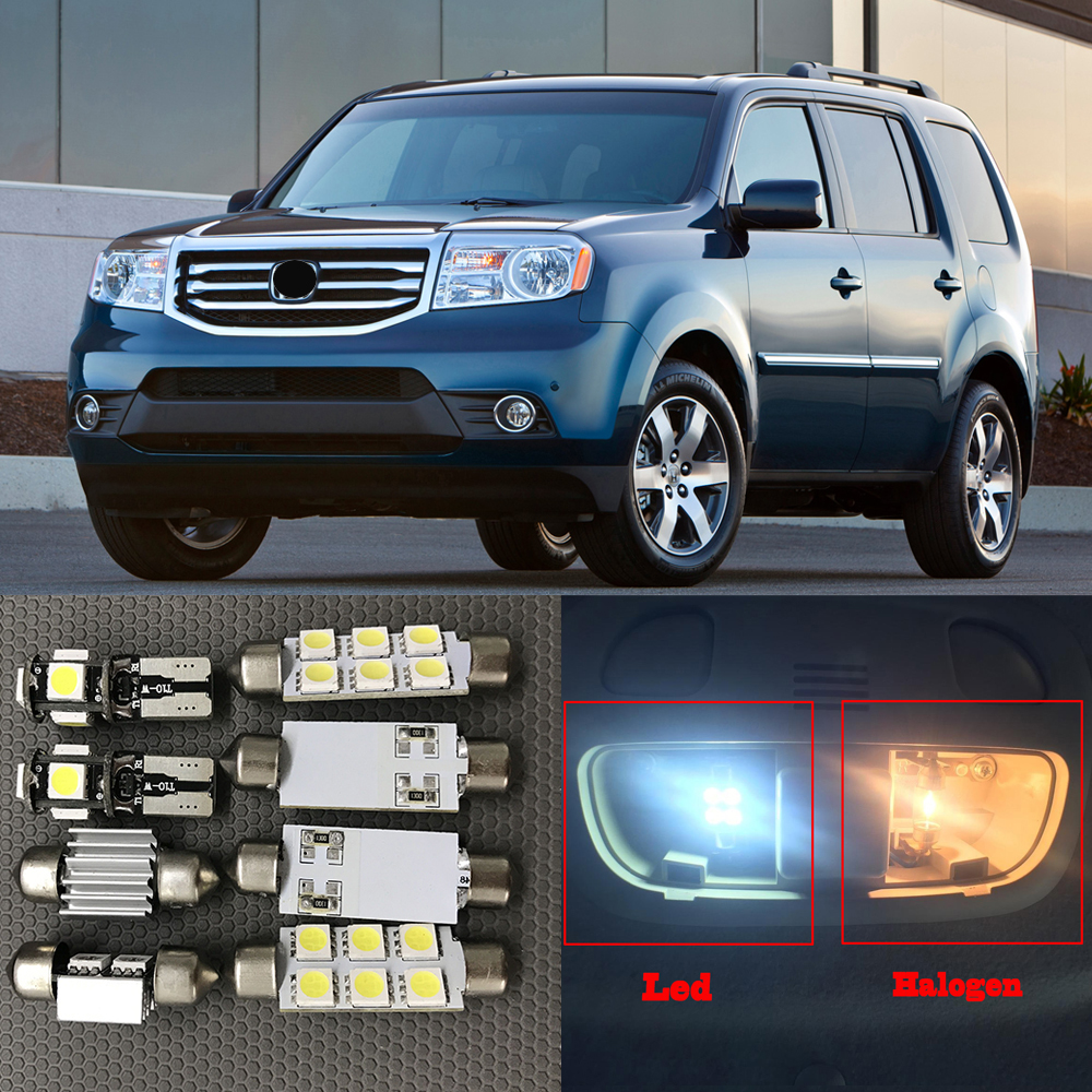 15pcs White Auto Interior LED Light Bulbs Kit For 2009-2015 Honda Pilot Canbus Led Map Dome Trunk License Plate Light Lamp