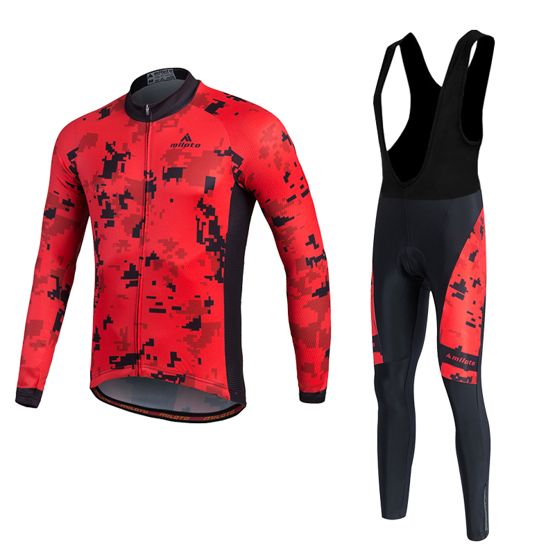 MILOTO Winter Thermal Fleece Cycling Jersey Super Warm Ropa Ciclismo MTB Riding Sets Long Sleeve Bicycle Comfortable Clothing