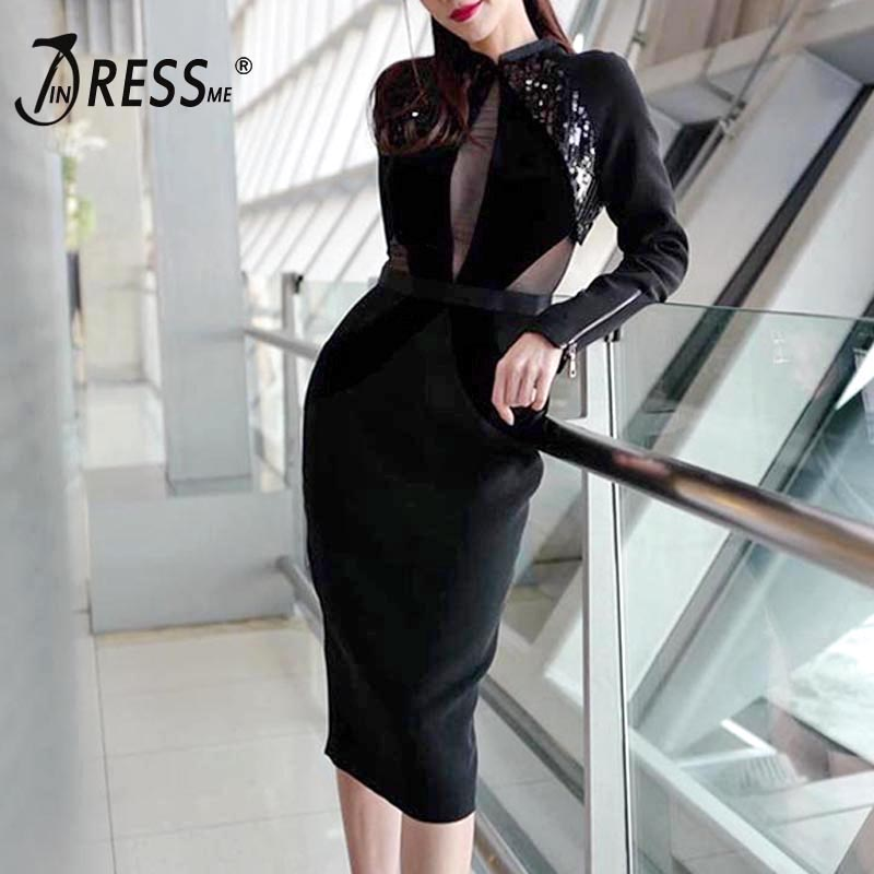 INDRESSME 2019 New Women Sexy Black Bandage Dress Long Sleeve Sequins Stand Neck Knee Length Party