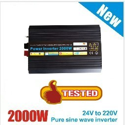 New Arrive 2000W Power Inverter Pure Sine Wave  DC 12V 24V to AC 220V Solar Power Inverter Peak Power 4000W Free Shipping
