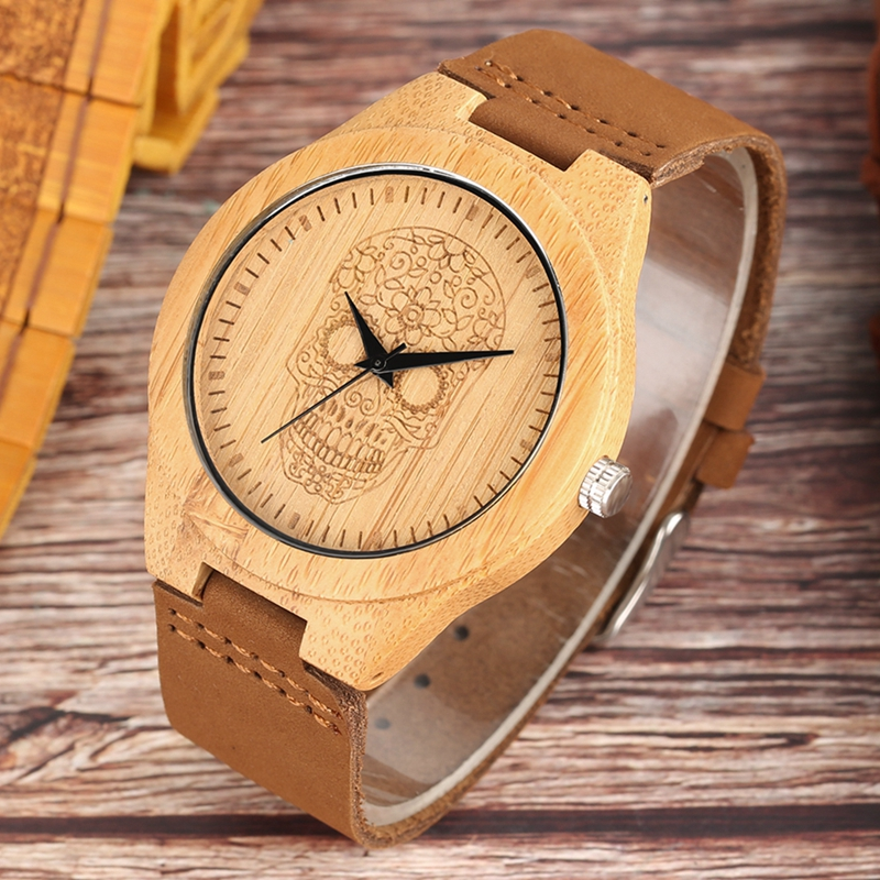 Punk Skull Wood Watch Men's Nature Bamboo Wood Hour Leather Casual Ghost Dial Quartz Watch Male Sport Clock Reloj Christmas Gift 7 types hollow dial wooden watch creative natural whole wood adjustable band men s sport casual dress hour clock reloj de madera