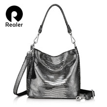Realer Women Handbags Genuine Leather Crossbody Shoulder Bags Female Animal Prints Messenger Hobos Las Small