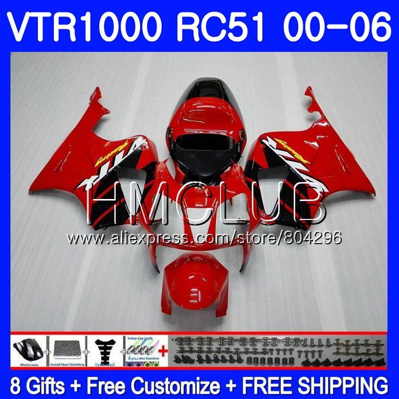 Carenagem Para HONDA 80HM VTR1000 2000 2001 2002 2003 2004 2005 2006. 2 RTV1000 VTR 1000 Fábrica vermelho RC51 SP1 SP2 01 02 03 04 05 06