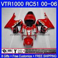 Fairing For HONDA VTR1000 2000 2001 2002 2003 2004 2005 2006 80HM.2 RTV1000 VTR 1000 Factory red RC51 SP1 SP2 01 02 03 04 05 06