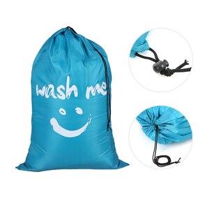 Image 1 - Organizator torba duża składana nylonowa torba na pranie brudne na ubrania torba z zamknięciem na sznurek do pralni domowej torba