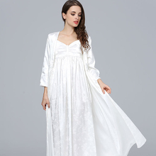 SILK Sleepwear Female Two-Piece Long Bathrobes + Nightdress Sets Princess White Woman Robe Gown Kimono DS8010 цена