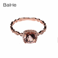BAIHE Filigree 6MM CUSHION PINK Morganite PAVE DIAMONDS 14K Rose Gold Engagement Ring Wedding Antique Ring Trendy Morganite Ring