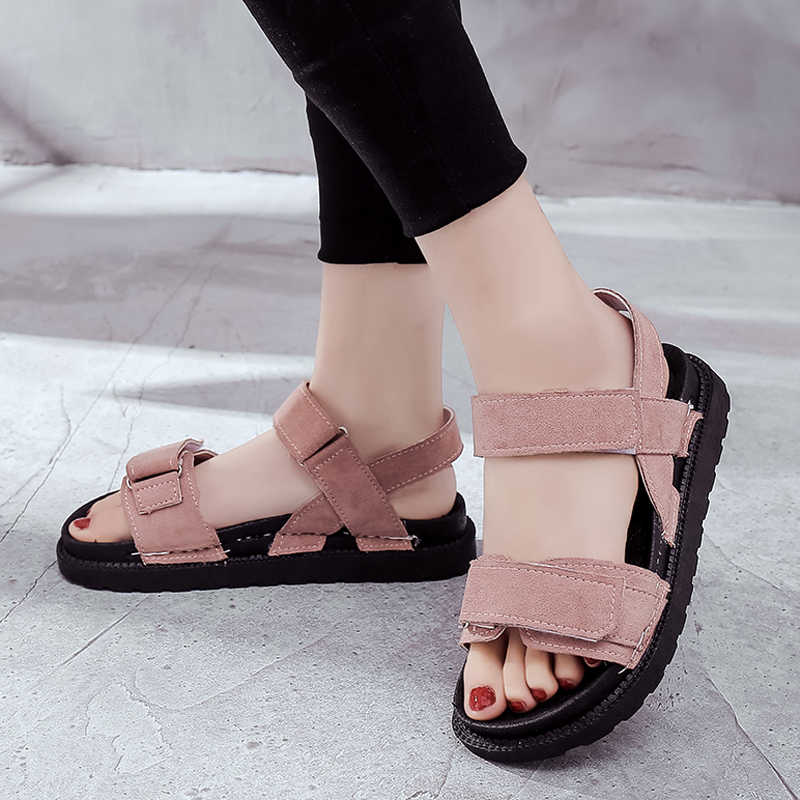 HEE GRAND 2019 Summer Sandals Women Platform Flats Slip On Ankle Strap Solid Breathable Creepers Lady Daily Casual Shoes XWZ5572