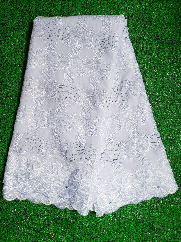 white2019factory offers African High Quality Swiss Voile Lace With stones Nigerian Dry Polyester Lace For Evening