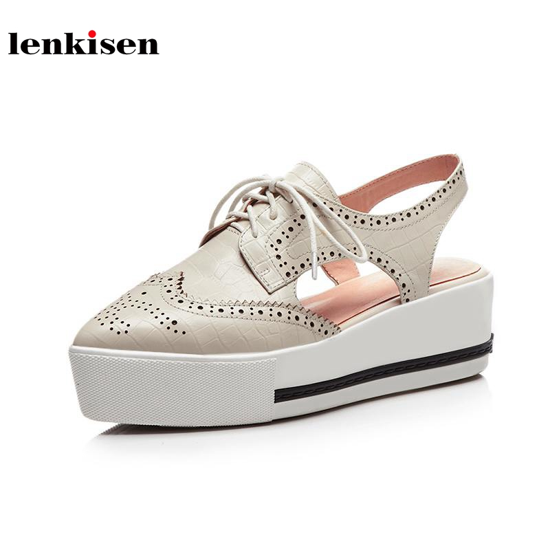 Lenkisen genuine leather pointed toe lace up hollow pattern causal shoes slingback running breathable women vulcanized shoes L15