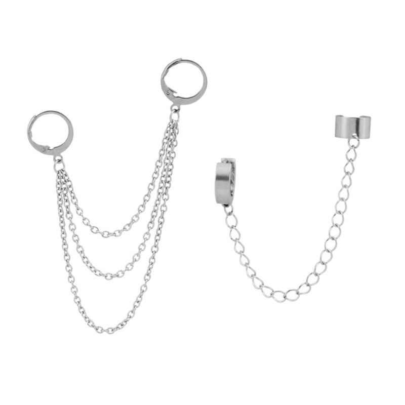 Korean Hip Hop Titanium Steel Chain Threader Drop Cuff Double Chain Piercing Earrings Unisex Titanium Stainless Steel Jewelry