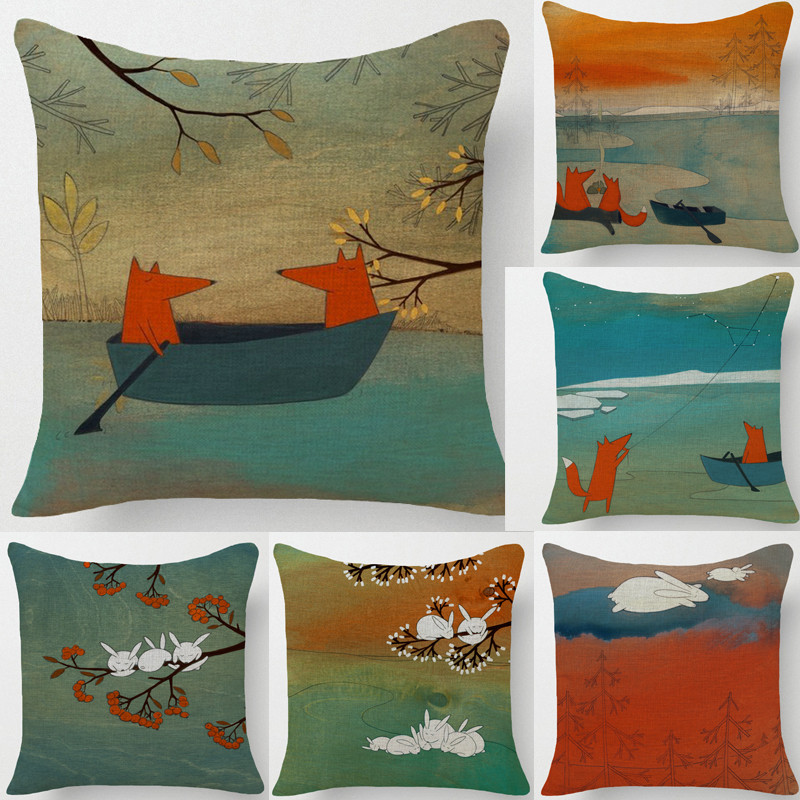 Fox Pillow Cover, Small Fox Red Lovers Cotton Linen Throw Pillow Cushion  Cover/home
