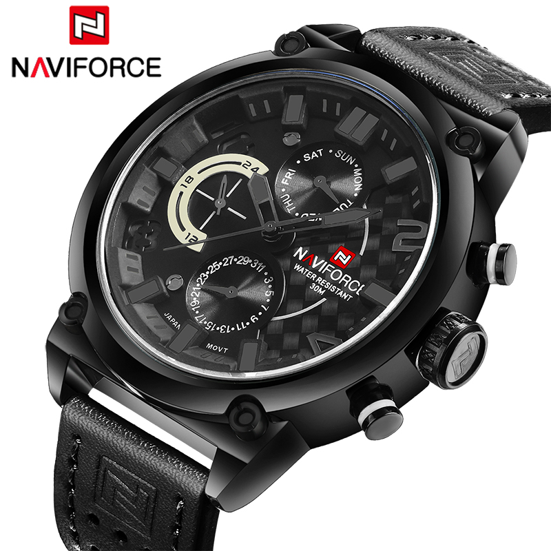 NAVIFORCE 2018 Luxury Brand Men Sport Watches Man Date Waterproof Quartz Watch Military Leather Wristwatches Relogio Masculino 2017 new top fashion time limited relogio masculino mans watches sale sport watch blacl waterproof case quartz man wristwatches