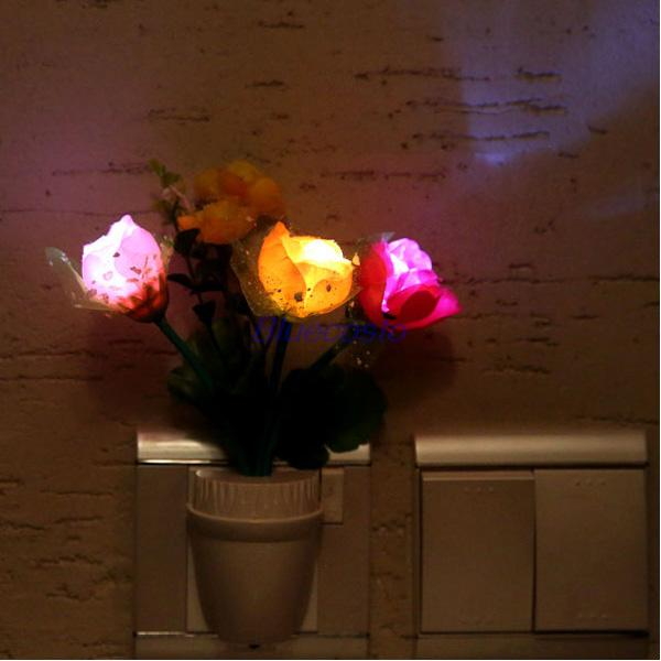 Home Colorful Romantic Rose Flower Vase Led Wall Lamp Plug In Night