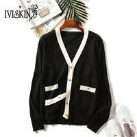 Elegant Sueter Mujer Invierno 2018 New V Neck Pockets Cardigan Women Casual Sweater Atumn Korean Lady Jumper