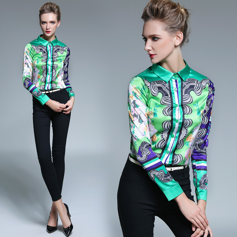 Más el Tamaño Xxl Blusa De Diseño de Moda de La Vendimia de Las Mujeres Impreso